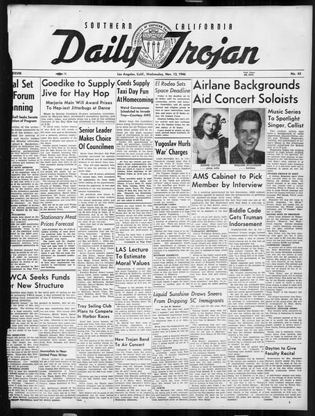 Daily Trojan, Vol. 38, No. 43, November 13, 1946