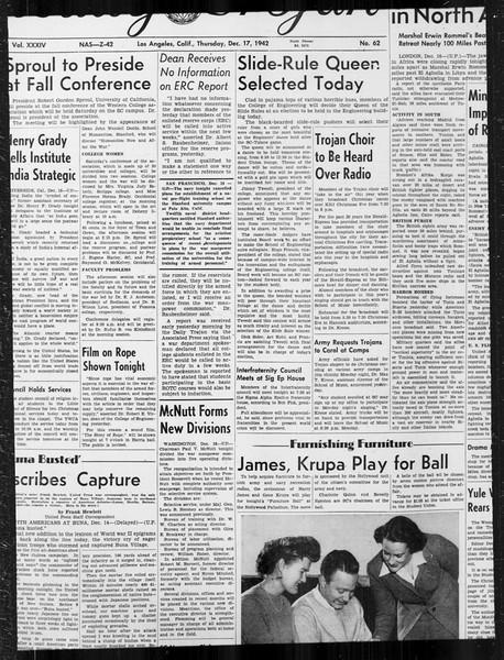 Daily Trojan, Vol. 34, No. 62, December 17, 1942