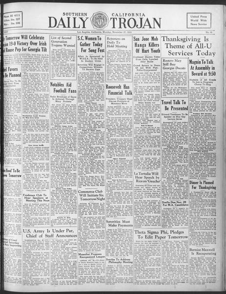 Daily Trojan, Vol. 25, No. 46, November 27, 1933