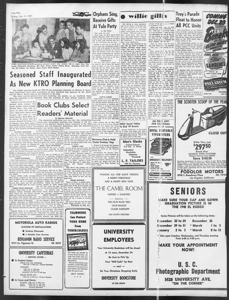 Daily Trojan, Vol. 39, No. 67, December 19, 1947