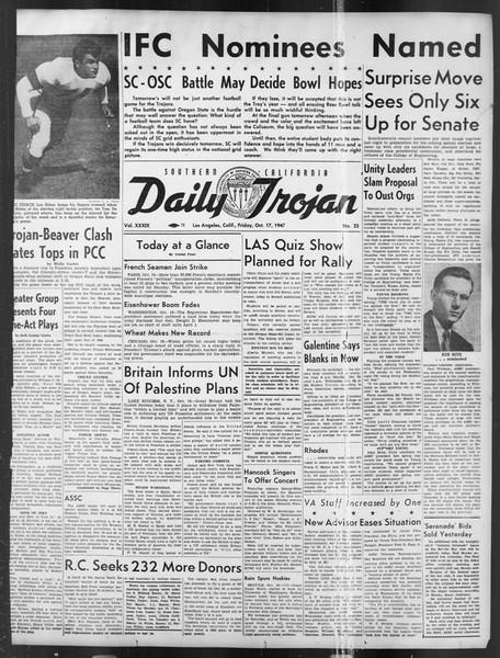 Daily Trojan, Vol. 39, No. 25, October 17, 1947