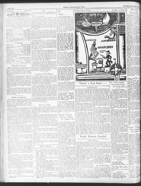 Daily Trojan, Vol. 25, No. 34, November 09, 1933