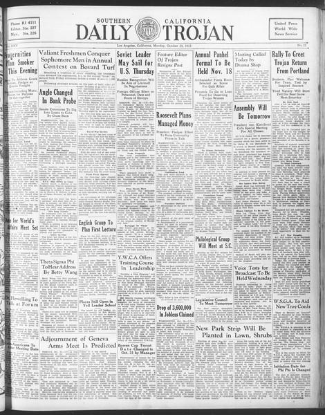 Daily Trojan, Vol. 25, No. 22, October 23, 1933