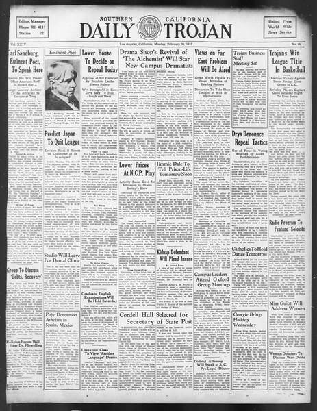 Daily Trojan, Vol. 24, No. 89, February 20, 1933