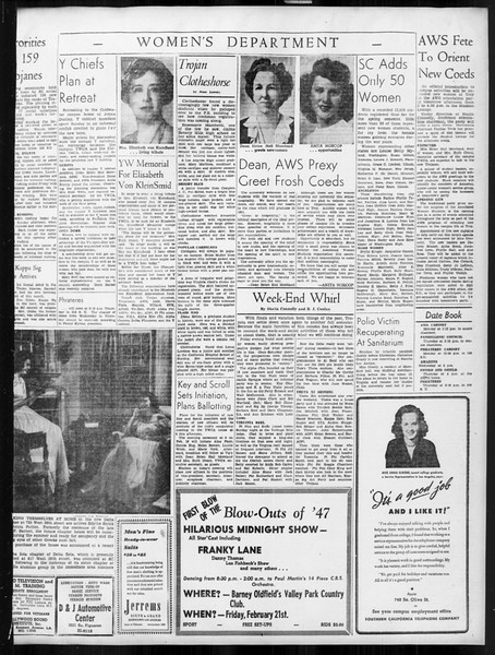 Daily Trojan, Vol. 38, No. 72, February 11, 1947