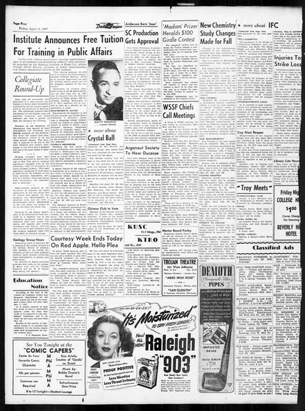 Daily Trojan, Vol. 38, No. 117, April 18, 1947