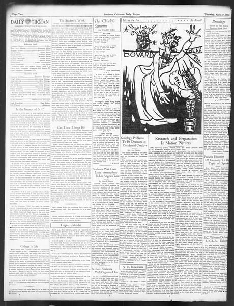 Daily Trojan, Vol. 24, No. 131, April 27, 1933