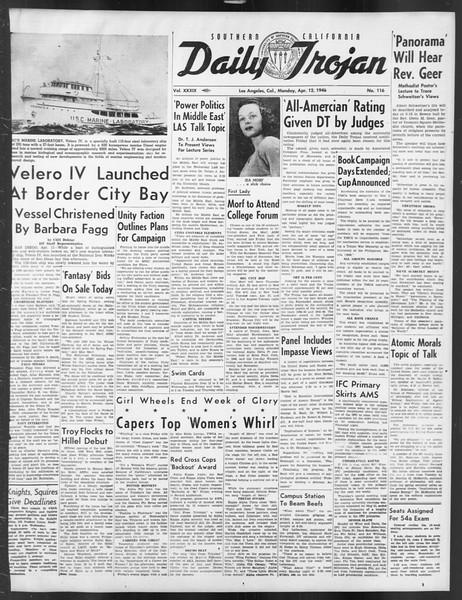 Daily Trojan, Vol. 39, No. 116, April 12, 1948