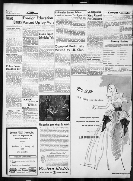 Daily Trojan, Vol. 38, No. 96, March 17, 1947