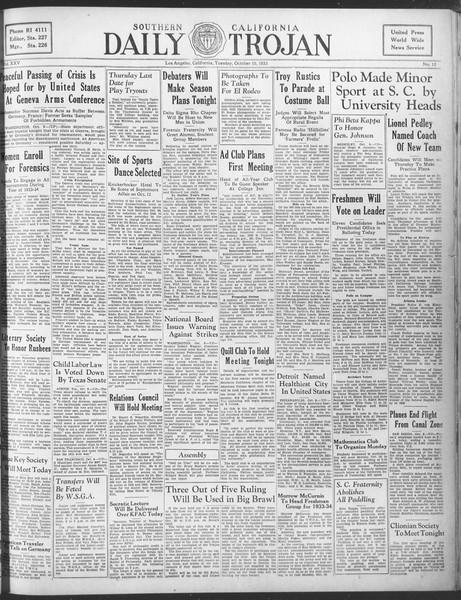 Daily Trojan, Vol. 25, No. 13, October 10, 1933