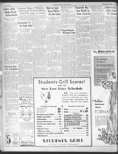 Daily Trojan, Vol. 25, No. 14, October 11, 1933
