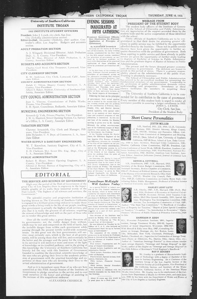 Southern California Trojan: School of Citizenship and Public Administration, Vol. 5, No. 1, June 16, 1932