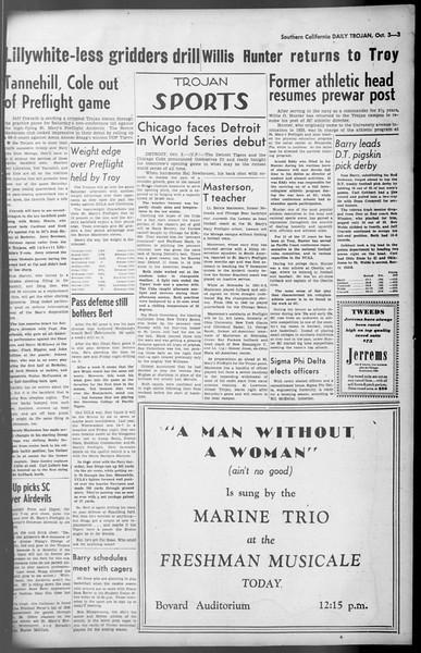 Daily Trojan, Vol. 36, No. 213, October 03, 1945