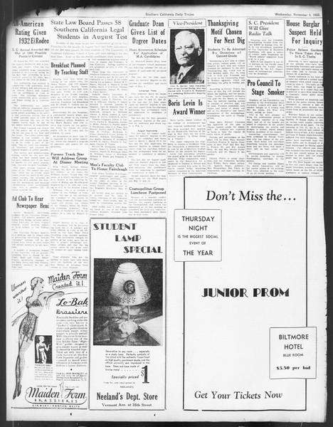 Daily Trojan, Vol. 24, No. 43, November 09, 1932