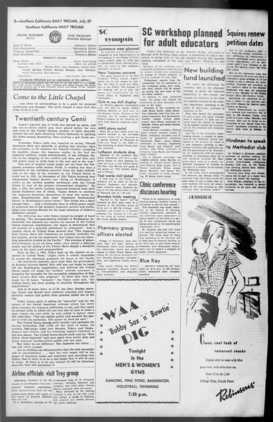 Daily Trojan, Vol. 36, No. 166, July 27, 1945