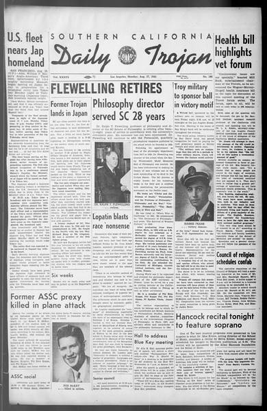 Daily Trojan, Vol. 36, No. 186, August 27, 1945