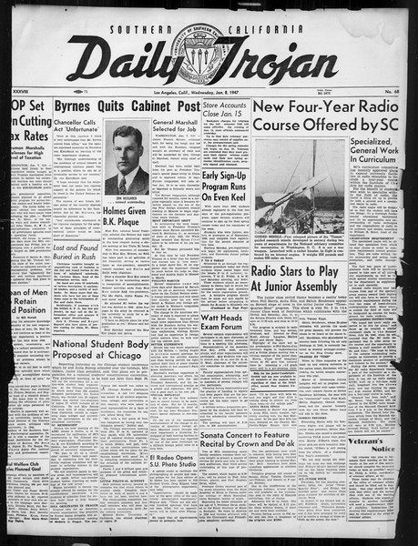 Daily Trojan, Vol. 38, No. 68, January 08, 1947