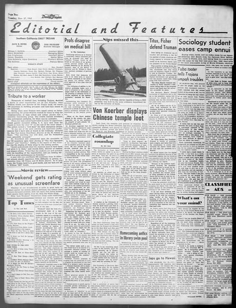 Daily Trojan, Vol. 37, No. 18, November 27, 1945