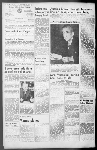 Daily Trojan, Vol. 36, No. 155, July 12, 1945
