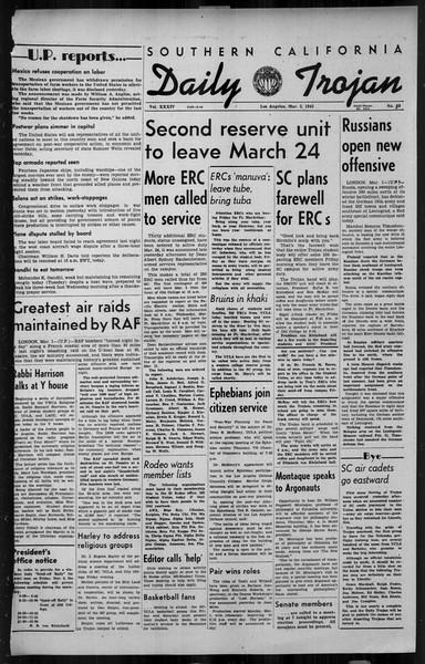 Daily Trojan, Vol. 34, No. 95, March 02, 1943