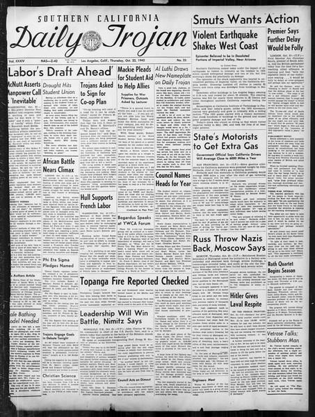 Daily Trojan, Vol. 34, No. 25, October 22, 1942