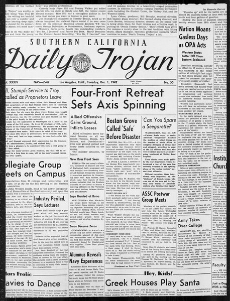 Daily Trojan, Vol. 34, No. 50, December 01, 1942