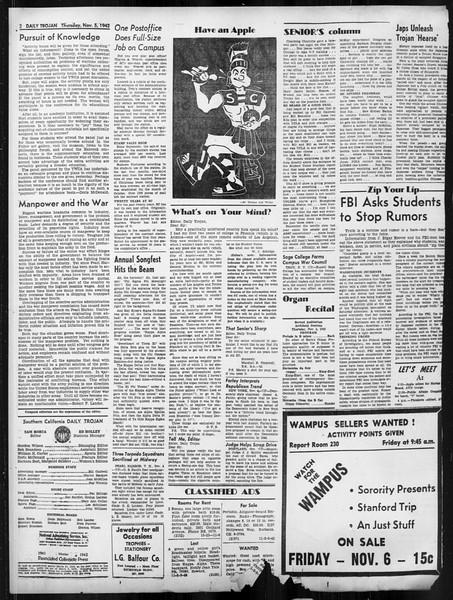 Daily Trojan, Vol. 34, No. 34, November 05, 1942