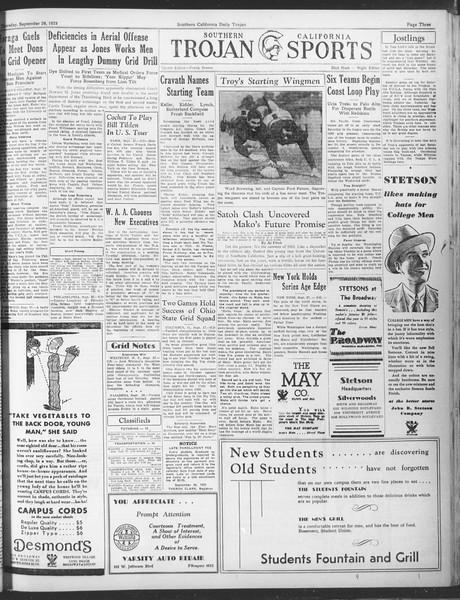 Daily Trojan, Vol. 25, No. 5, September 28, 1933