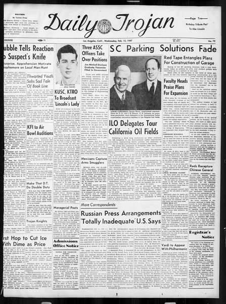 Daily Trojan, Vol. 38, No. 73, February 12, 1947