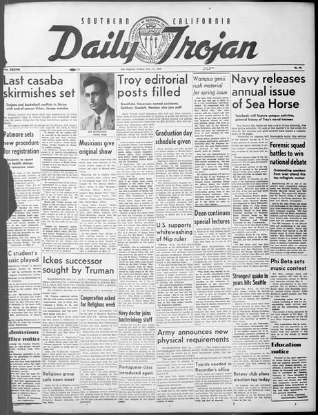 Daily Trojan, Vol. 37, No. 72, February 15, 1946