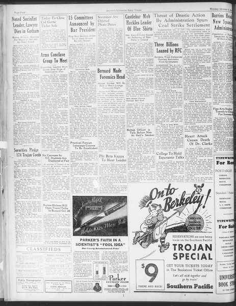 Daily Trojan, Vol. 25, No. 12, October 09, 1933