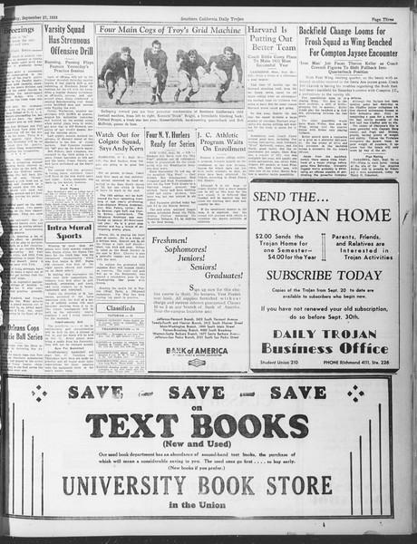 Daily Trojan, Vol. 25, No. 4, September 27, 1933