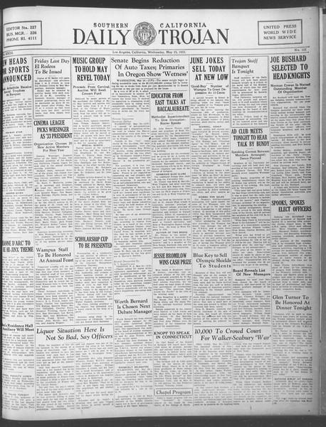 Daily Trojan, Vol. 23, No. 153, May 25, 1932
