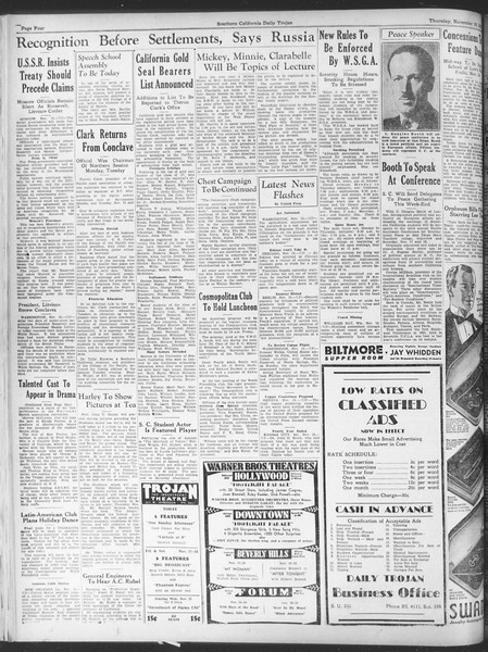 Daily Trojan, Vol. 25, No. 39, November 16, 1933