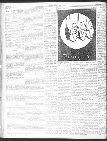 Daily Trojan, Vol. 25, No. 20, October 19, 1933