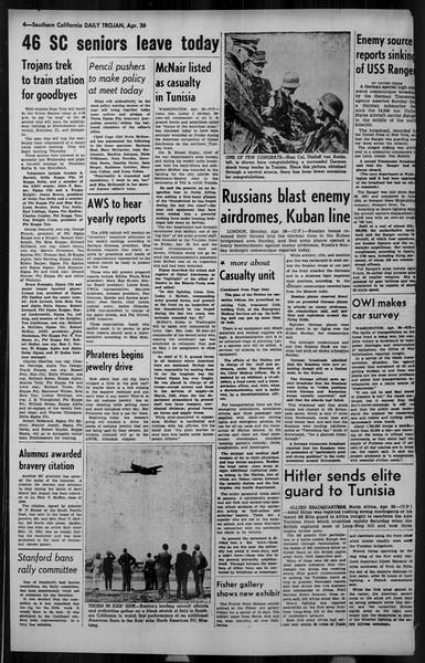 Daily Trojan, Vol. 34, No. 133, April 26, 1943