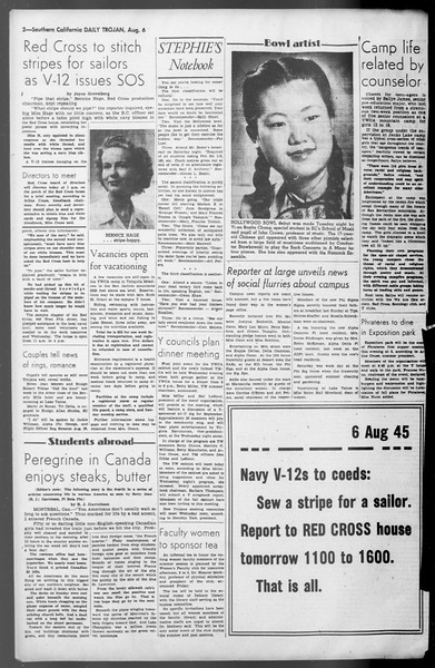 Daily Trojan, Vol. 36, No. 172, August 06, 1945
