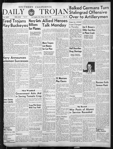 Daily Trojan, Vol. 34, No. 16, October 09, 1942