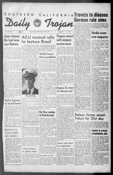 Daily Trojan, Vol. 36, No. 167, July 30, 1945