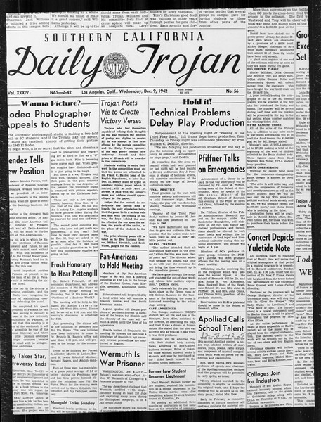 Daily Trojan, Vol. 34, No. 56, December 09, 1942