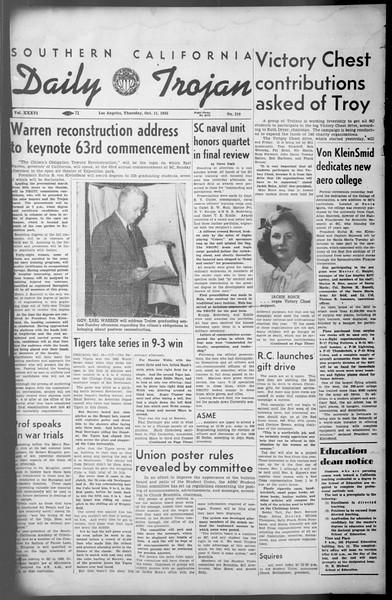Daily Trojan, Vol. 36, No. 219, October 11, 1945
