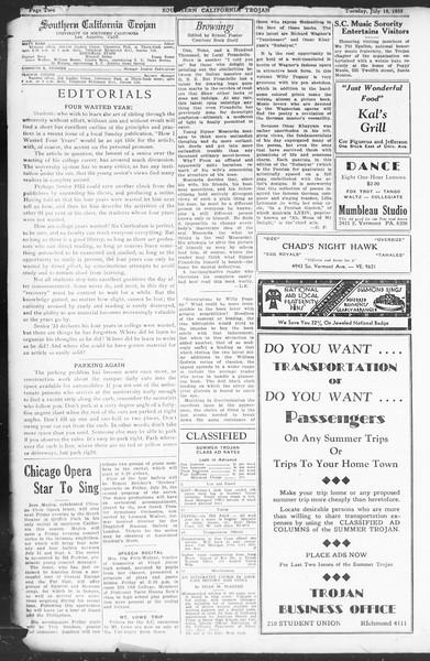 Southern California Trojan, Vol. 12, No. 8, July 18, 1933