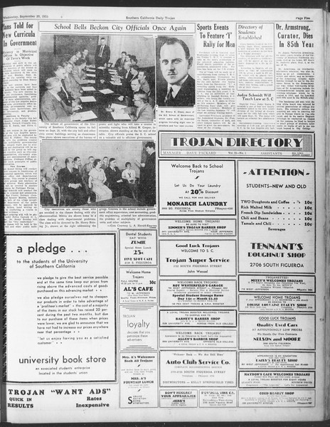 Daily Trojan, Vol. 25, No. 1, September 20, 1933