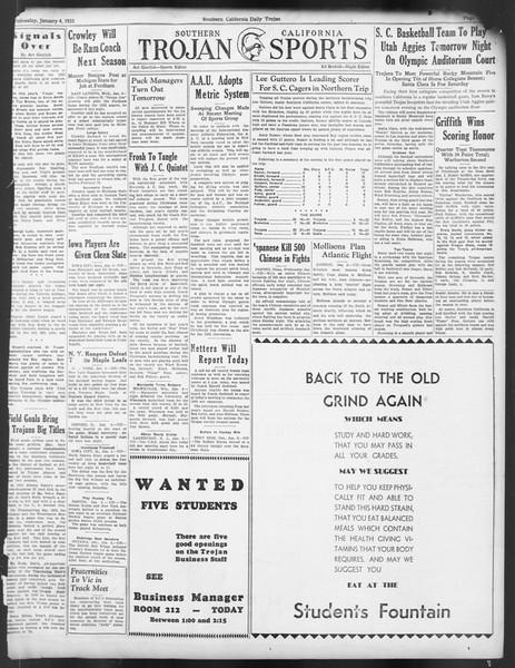 Daily Trojan, Vol. 24, No. 64, January 04, 1933