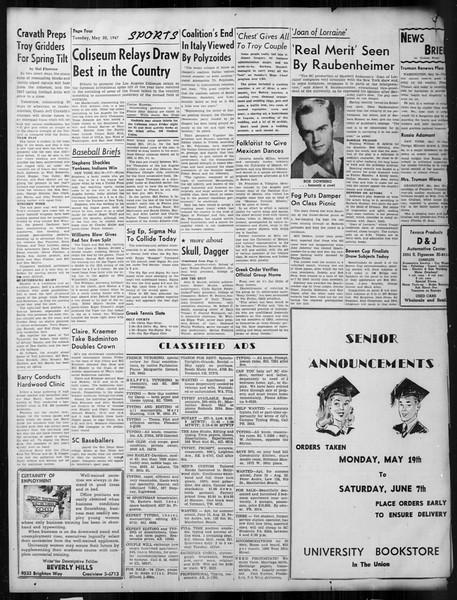 Daily Trojan, Vol. 38, No. 138, May 20, 1947