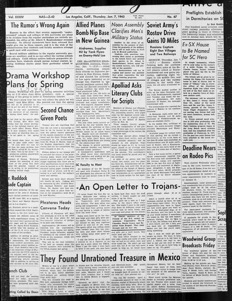 Daily Trojan, Vol. 34, No. 67, January 07, 1943