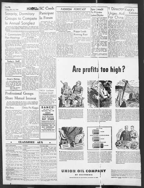 Daily Trojan, Vol. 39, No. 49, November 21, 1947