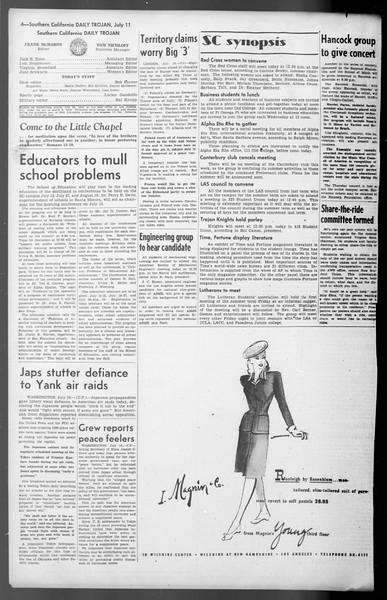 Daily Trojan, Vol. 36, No. 154, July 11, 1945