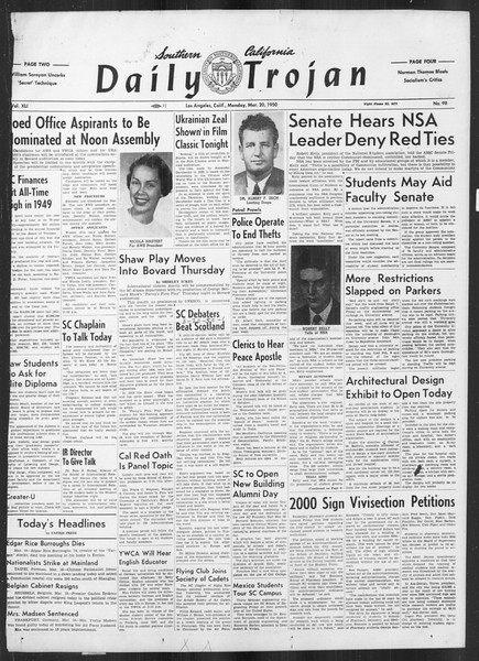 Daily Trojan, Vol. 41, No. 98, March 20, 1950