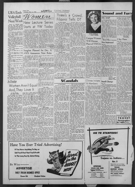 Daily Trojan, Vol. 44, No. 37, November 04, 1952